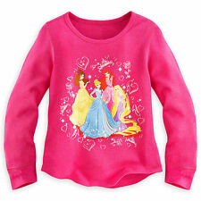Disney Store Princess Ariel Rapunzel Belle Long Sleeve Thermal T Shirt Girl 5/6