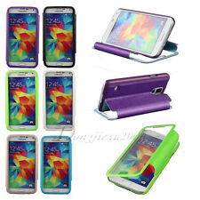 View Window Leather Flip Stand Hard Skin Pouch Case Cover For Samsung For Apple