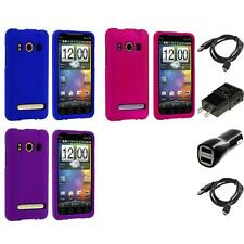 Color Hard Snap-On Rubberized Skin Case for HTC Sprint EVO 4G Phone 2X Chargers