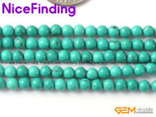 """Wholesale Lot Round Blue Natural Turquoise Beads For Jewelry Making Gemstone 15"""""""