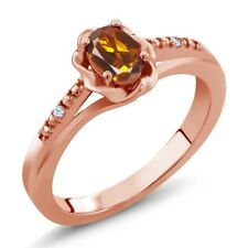 0.42 Ct Orange Red Madeira Citrine White Topaz 18K Rose Gold Plated Silver Ring