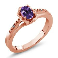 0.36 Ct Oval Purple Amethyst White Diamond 18K Rose Gold Plated Silver Ring