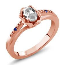0.52 Ct Oval White Topaz Blue Sapphire 18K Rose Gold Plated Silver Ring