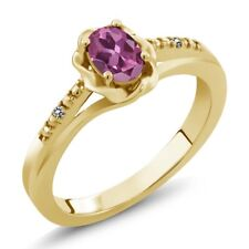 0.51 Ct Oval Pink Tourmaline White Diamond 18K Yellow Gold Plated Silver Ring