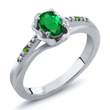 0.41 Ct Oval Green Simulated Emerald and Simulated Tsavorite 18K White Gold Ring