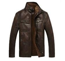 Fashion Mens Leather Casual Short Jackets Winter Fur Lining Coats Slim Fit Parka