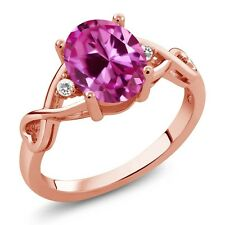 2.44 Ct Pink Created Sapphire White Sapphire 18K Rose Gold Plated Silver Ring