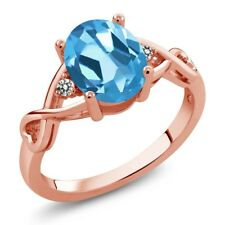 1.86 Ct Oval Swiss Blue Topaz White Diamond 18K Rose Gold Plated Silver Ring