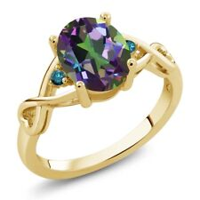 1.86 Ct Oval Green Mystic Topaz Blue Diamond 18K Yellow Gold Plated Silver Ring