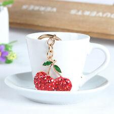 Cherry oxheart Leaves Lovely Crystal Pendent Charm Key Ring Chain Party Gift