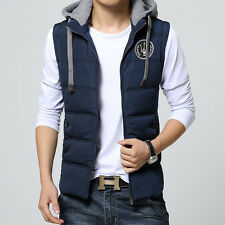 2016 New Arrival Men's Stylish Warm Hoodie Waistcoat Pure Color Hooded Coat