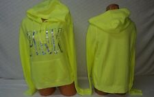 Victoria's Secret PINK Iridescent Graphic Foil Bling Neon Green Pullover