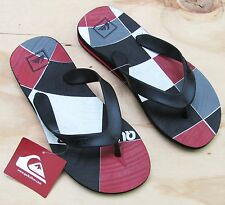 Quiksilver Flip Flops Mens Carver 3 RT Sandals Black Red Gray New Men's