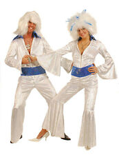 LADIES 70'S DISCO DANCING QUEEN WHITE JUMPSUIT FEVER COSTUME PARTY NEW 10-12-14