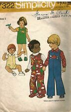 7322 Simplicity Vintage Sewing Pattern Child's Jumpsuit Two Lengths Shirt OOP