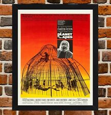 Framed Planet Of The Apes Movie Poster A4 / A3 Size In Black / White Frame