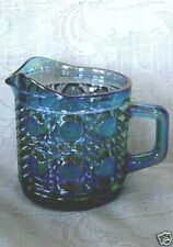 Collectible Vintage Blue Carnival Glass Cane Pattern Creamer Pitcher