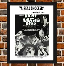 Framed Night Of The Living Dead Movie Poster A4/A3 Size In Black/White Frame