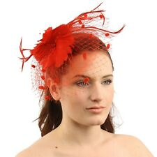 Handmade Mini Veil Floral Beads Feathers Headband Fascinator Cocktail Hat Red