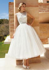 Custom White Ivory Tea Length Wedding Dresses Backless Lace Tulle Bridal Gowns