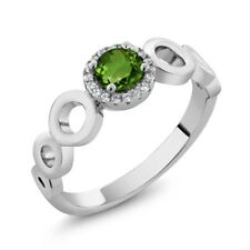 0.72 Ct Round Green Chrome Diopside 925 Sterling Silver Ring