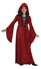 Girls Vampire Costume Long Halloween Fancy Dress Medieval Gothic Outfit New Red