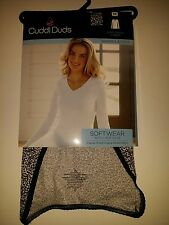 Cuddl Duds SOFTWEAR Ivory Leopard V-neck Lace SofTech Fabric Nylon Cotton Ski
