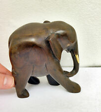 Charming Vintage Carved Solid Wooden Elephant Ornament - 10.5cm Height. Animal.
