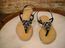 Marc Fisher Rady Black Suede Jeweled Thong Sandal NEW