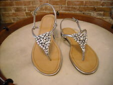 Marc Fisher Rady Silver Jeweled Thong Ankle Strap Sandal NEW