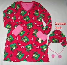 New Junior Girls Fleece Frog Nightshirt Sleepshirt Nightgown Sz Med Sleepwear