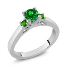 0.98 Ct Round Simulated Emerald and Simulated Tsavorite 925 Sterling Silver Ring