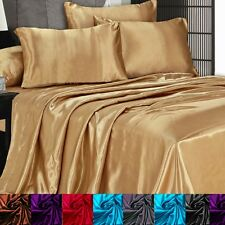 Satin Silky Sheet Set Queen/King Size Flat Fitted Pillows 500TC  (5 Colors)