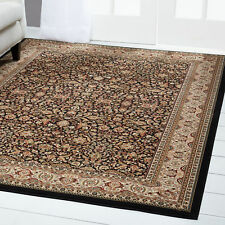 Black Brown Bordered Area Rug Traditional Persian Oriental Carpet Rugs Area Rugs