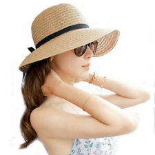 Best Floppy Foldable Ladies Women Straw Beach Sun Summer Hat One Size Wide Brim