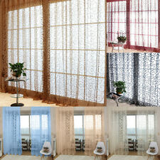 Sweet Floral Tulle Voile Window Curtains Solid Drape Sheer Door Room Valances