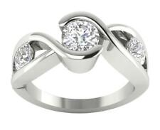 Solitaire Ring Anniversary Band I1/G Vintage Huge 1.60Ct Round Diamond 14Kt Gold