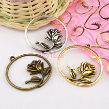 4Pcs Tibetan Silver,Gold,Bronze Hollow Flower Charms Pendants 33x36mm M1274