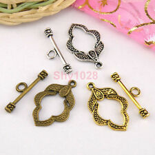 5Sets Tibetan Silver,Antiqued Gold,Bronze Leaf Connectors Toggle Clasps M1421