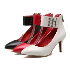 New Fashion Womens Leather Pointy Toe Rivet Ankle Shoes High Heels Pumps Size 8