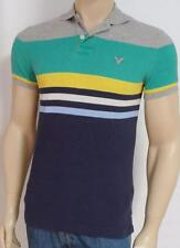 American Eagle Outfitters AEO Blue Green Gray Stripe Mens Polo Shirt New NWT