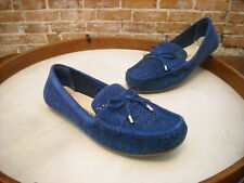 Isaac Mizrahi Adalyn Blue Perforated Suede Moccasins Loafer NEW