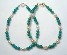 Lyns Jewelry Amazonite and Freshwater Pearl Bracelet Silver or Gold