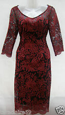 MARKS & SPENCER PER UNA RED EMBROIDERED FLORAL LACE PENCIL DRESS SIZE 10