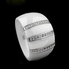 Polished Ceramic Dome Ring w/ 925 Sterling Silver&CZ White Gold Plated 13mm O6S9