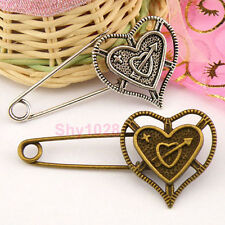 2Pcs Tibetan Silver.Antiqued Bronze Heart Safety Brooch Pins Clasps M1345