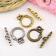 6Sets Tibetan Silver,Antiqued Gold,Bronze Snake Connectors Toggle Clasps M1419
