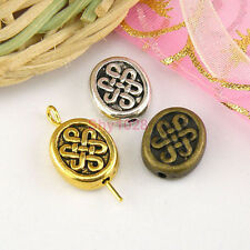 8Pcs Tibetan Silver,Antiqued Gold,Bronze Flat Oval Spacer Beads 10x11mm M1655