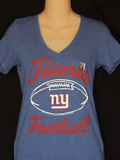 New York NY Giants V-Neck Tee Shirt WOMENS Sizes NFL Football Blue Logo Ladies