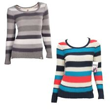 Roxy Juniors After Class Stripe Thick Knit Pullover Sweater Long Sleeve New